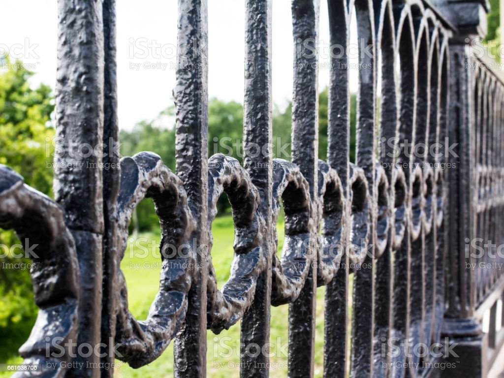 Close up view of metal fence stock photo