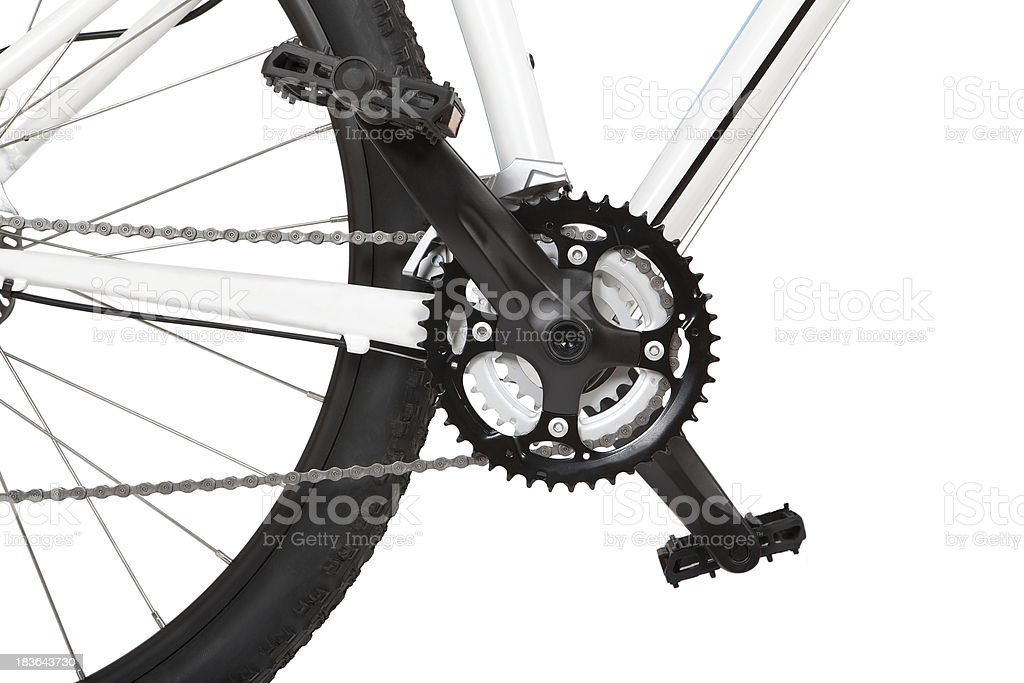 Close up view of mountain bike pedals and chainring  stock photo