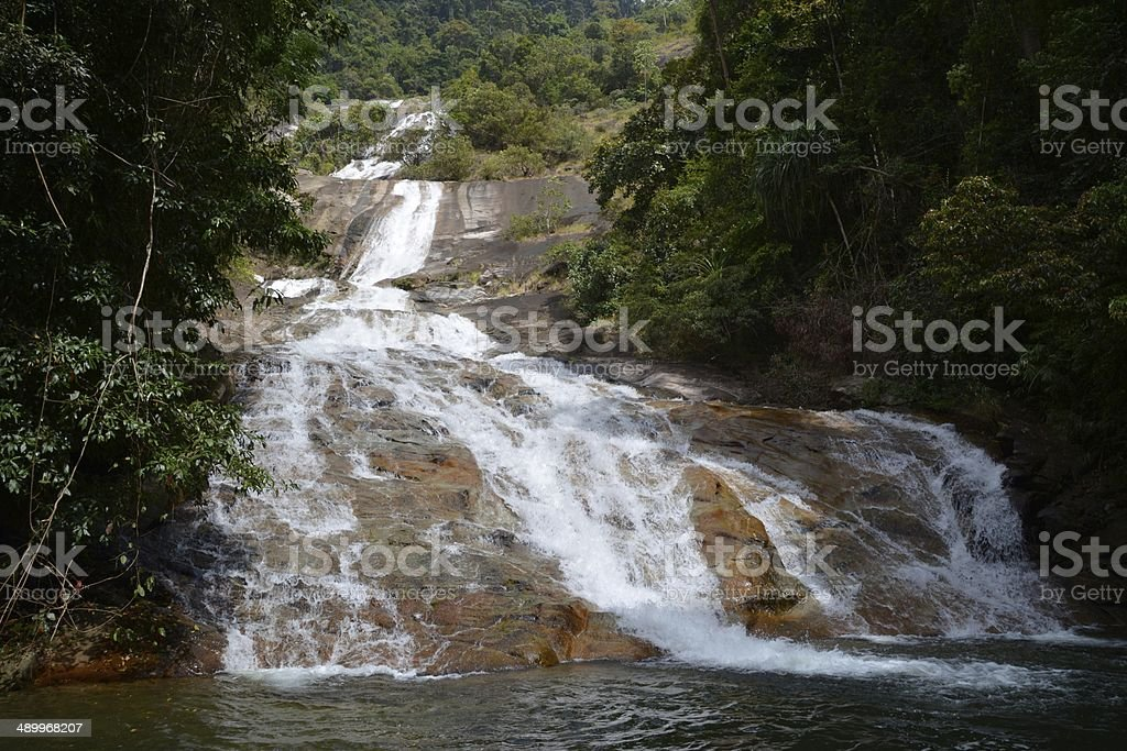 A close up view of Namtok Ton Te Waterfall in Banthat stock photo