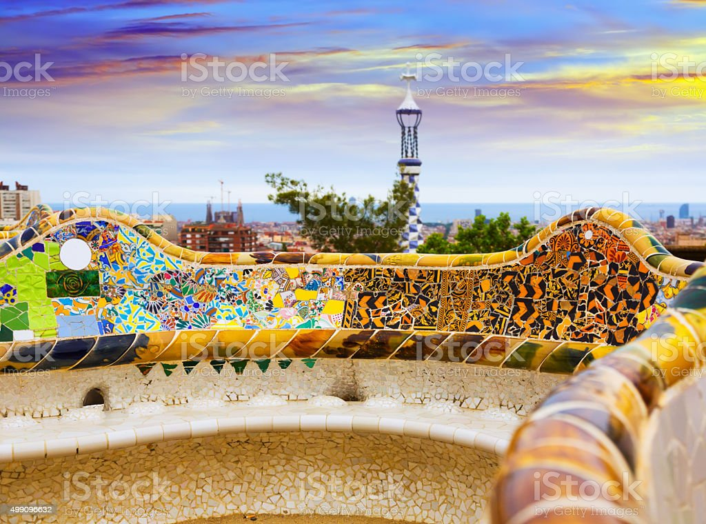 Close up view of Park Guell in Barcelona stock photo