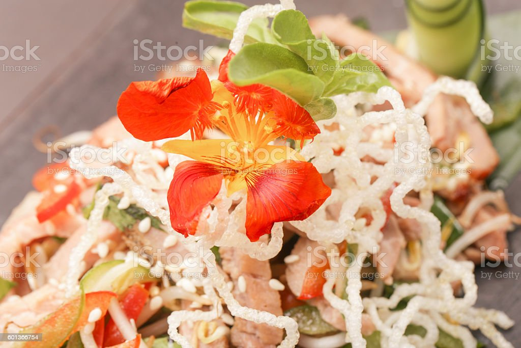 Close up view of rice noodles with vegetables stock photo