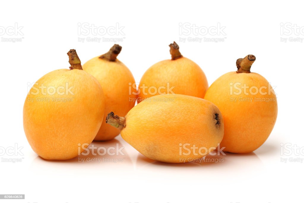 Close up view of some loquat fruit stock photo
