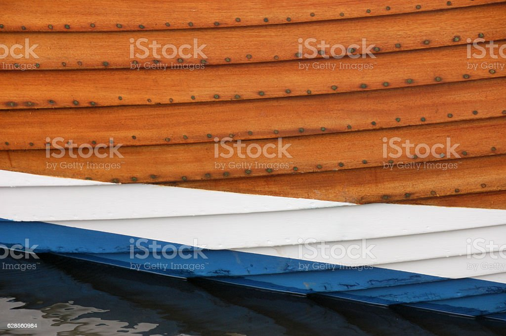 Close up view of the hull of a fishing boat stock photo