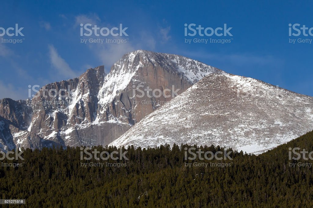 Close up View of the Longs Peak Diamond stock photo
