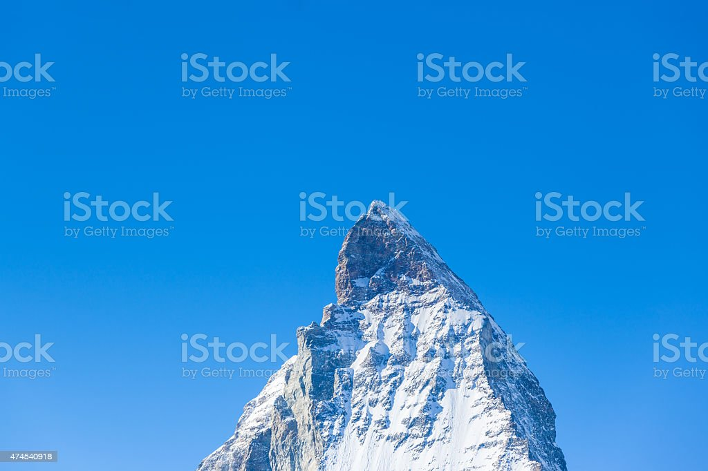 Close up view of the top of Matterhorn stock photo