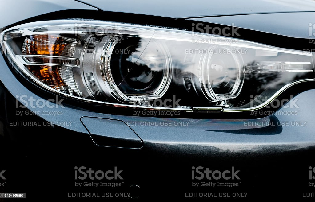Close up view of Xenon headlights from a german car stock photo