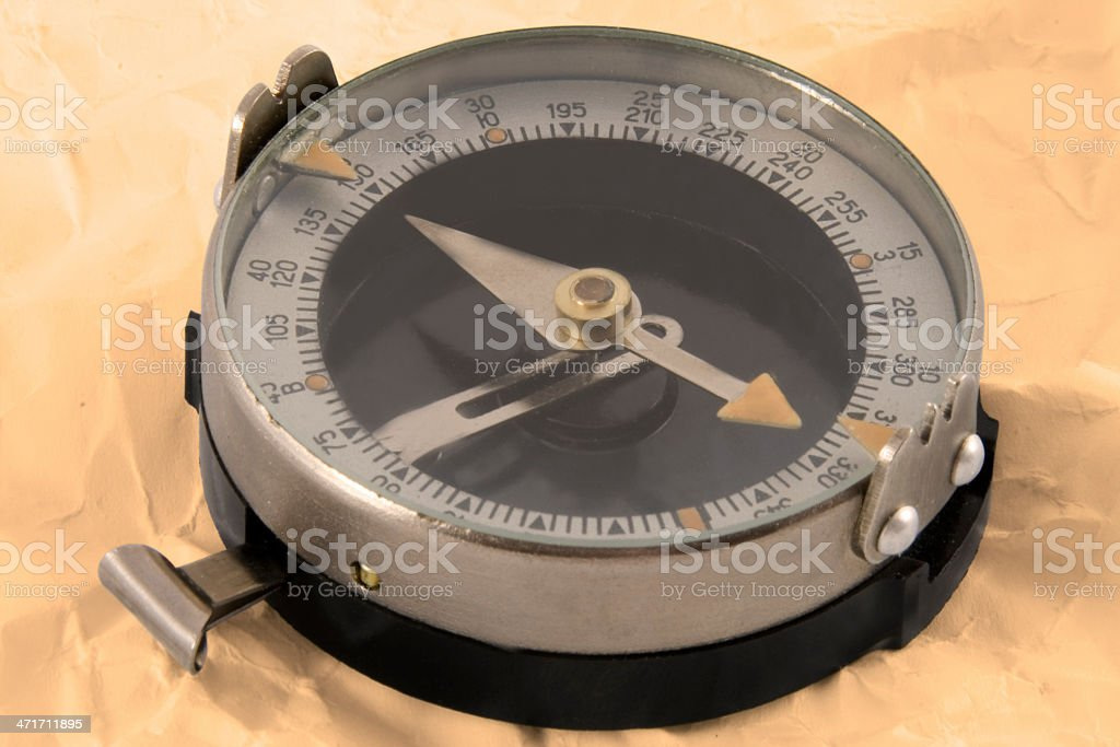 Close up view oft the old compass royalty-free stock photo