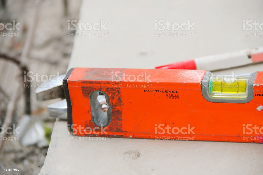 close up water level measure tools stock photo