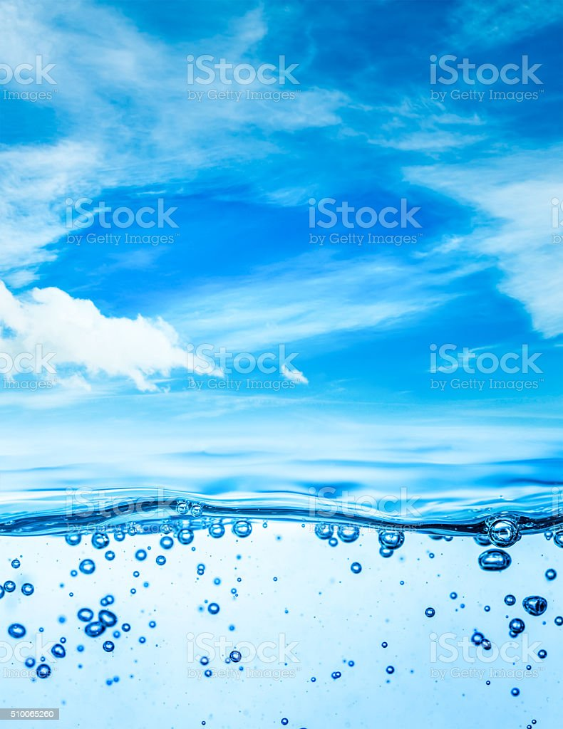 Close up water on a background of blue sky stock photo