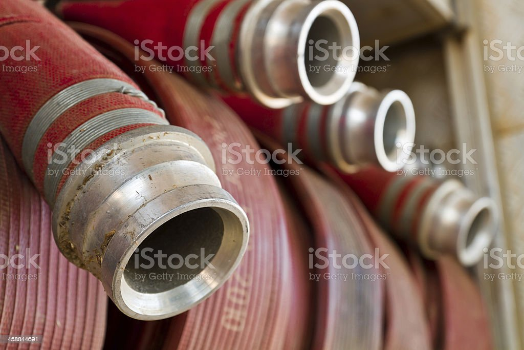 Close up water pipe of a fire truck stock photo