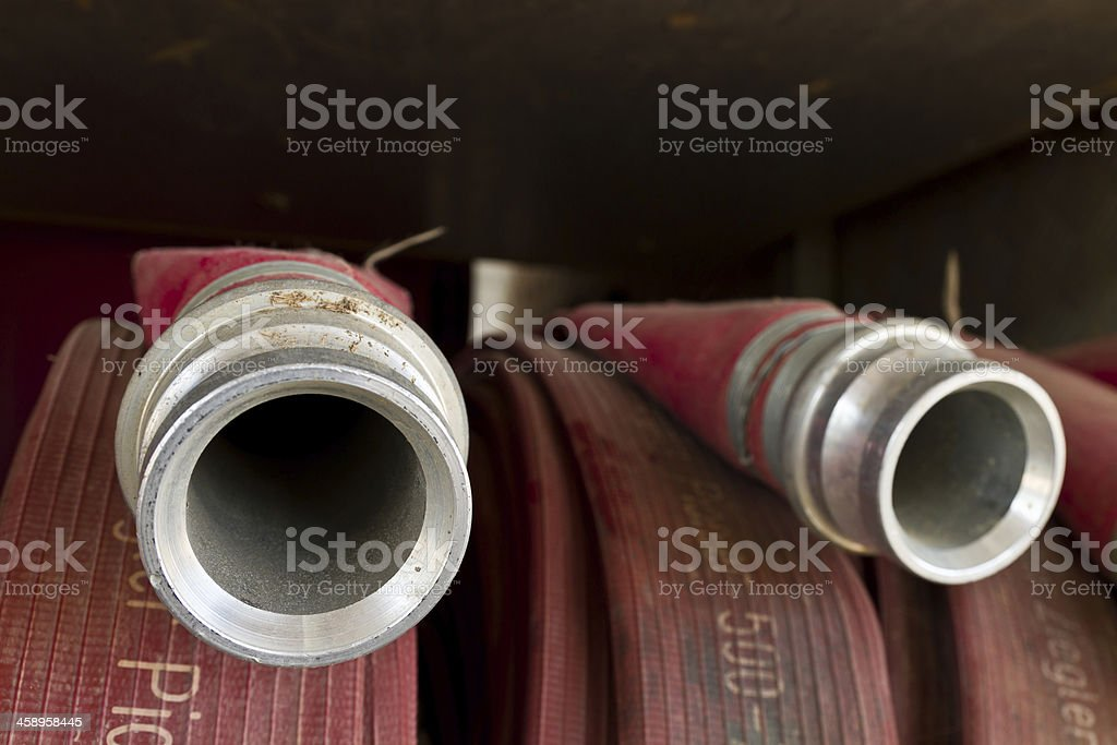 Close up water pipe of a fire truck royalty-free stock photo