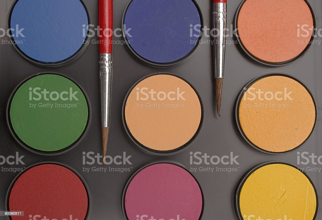 Close up watercolor paints royalty-free stock photo
