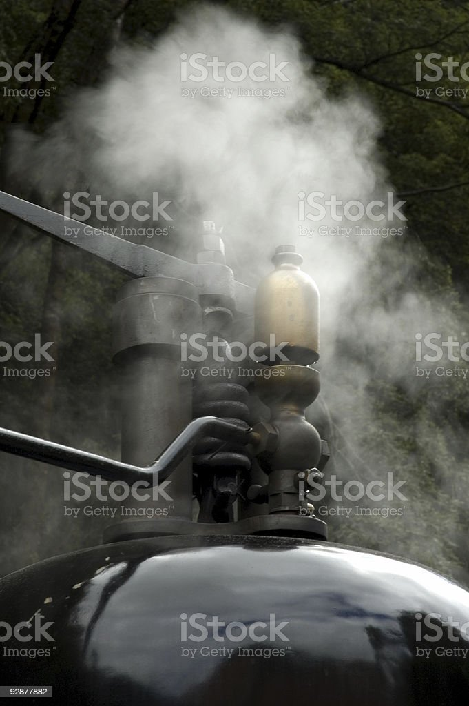 Close up Whistle on Steam Train stock photo
