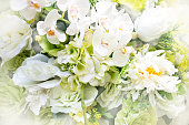 Close up white bouquet flower - Abstract soft light style