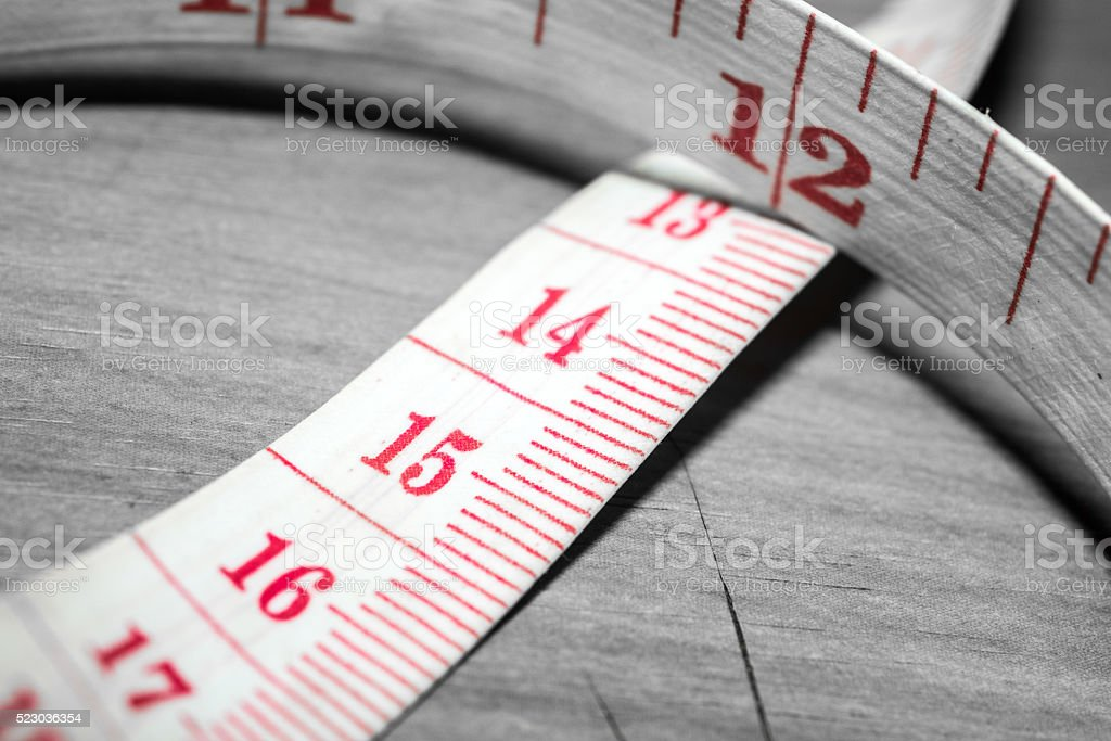 Close up white tape measuring stock photo