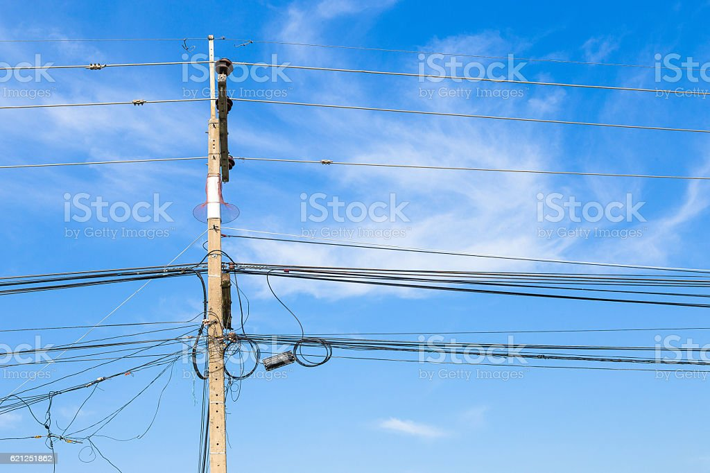 close up Wire electric in pole it messy and chaotic stock photo