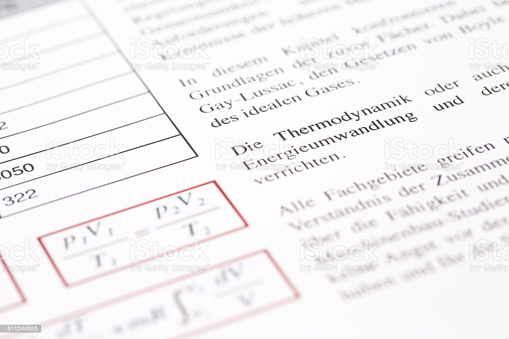 close up with selective focus of thermodynamics studies in german stock photo