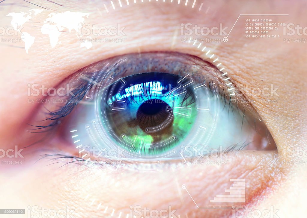 Close up women eye scanning technology in the futuristic, operat stock photo