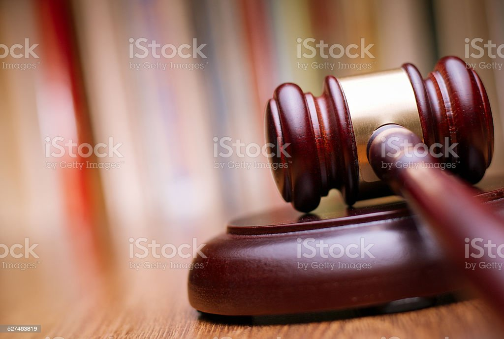 Close up Wooden Law Gavel on the Table stock photo