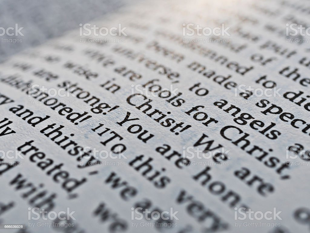 Close up words of holy bible stock photo