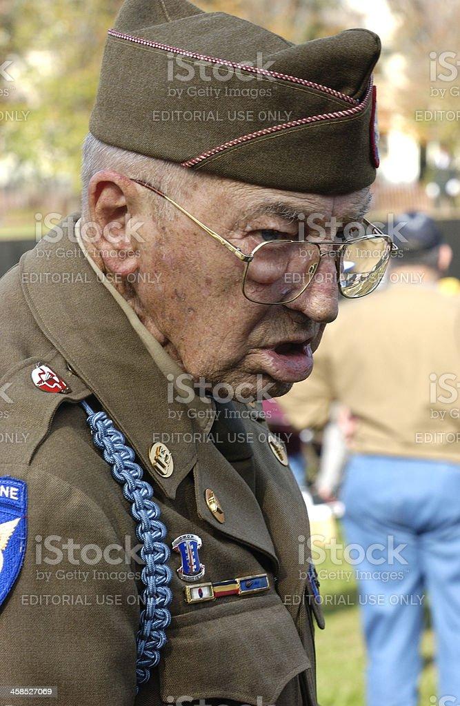 Close Up World War Two Veteran in Uniform royalty-free stock photo