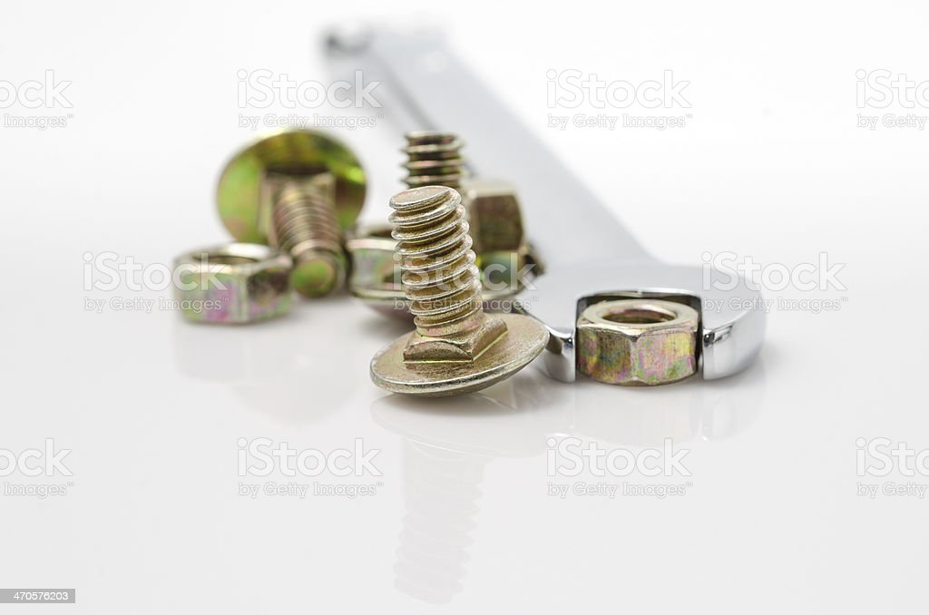 close ups of bolts and nuts stock photo
