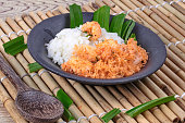 Close up,Sticky rice with stir-fried grated coconut ,shrimp