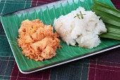 Close up,Sticky rice with stir-fried grated coconut ,shrimp