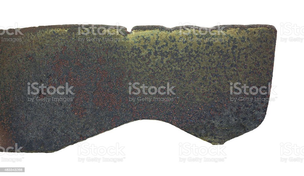 Close view edge of used lawn mower blade stock photo