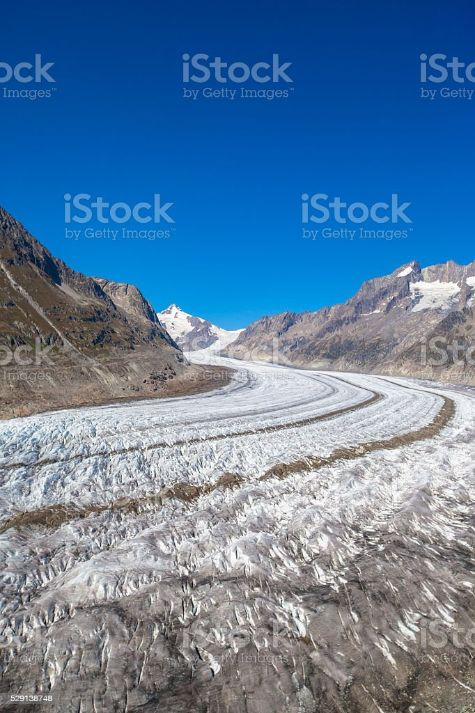 Close view of Aletsch glacier stock photo
