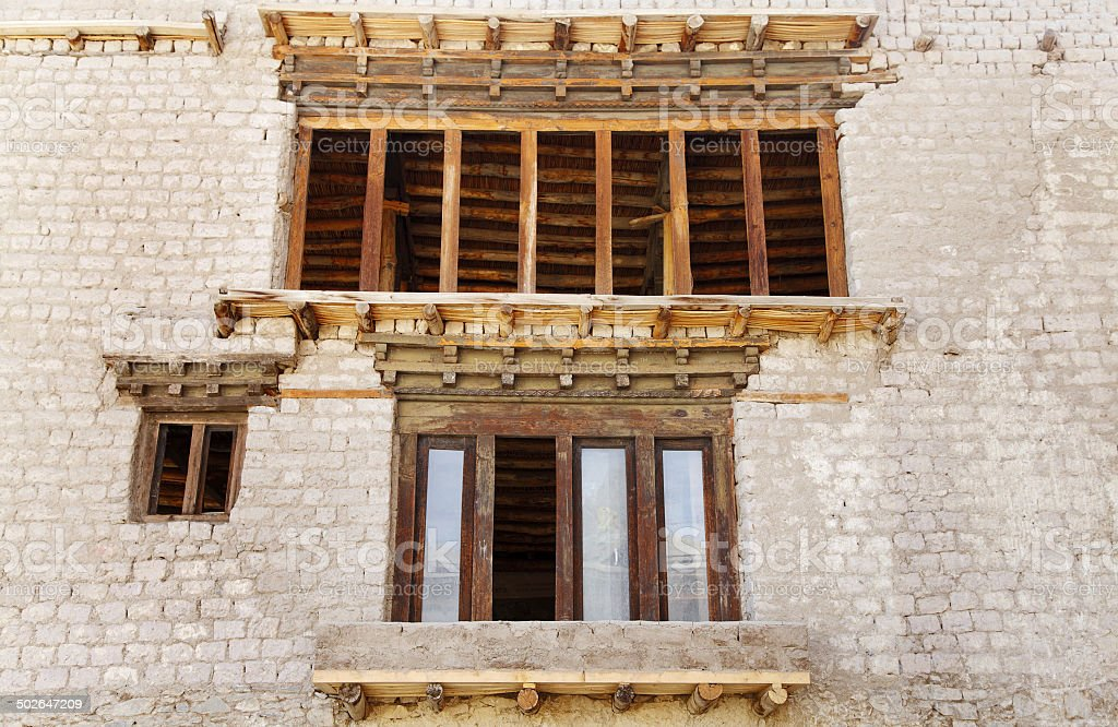 Close view of ancient windows of Leh palace stock photo
