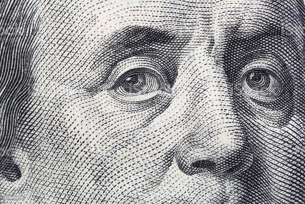 Close view of Benjamin Franklin hundred dollar bill stock photo