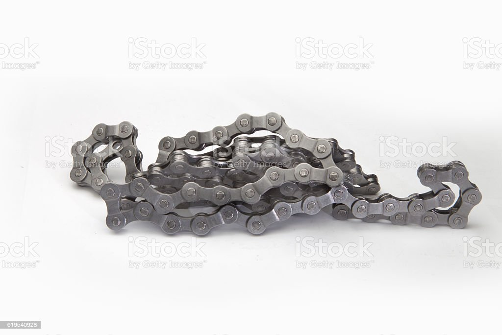 Close view of bicycle chain stock photo