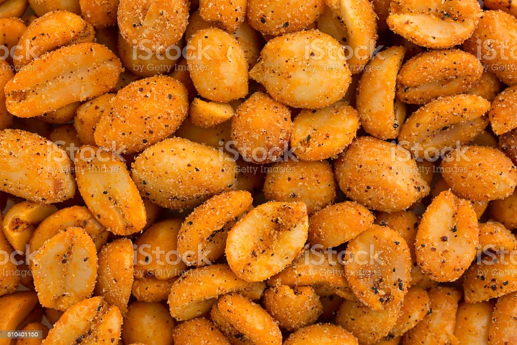 Close view of hot and spicy peanuts stock photo