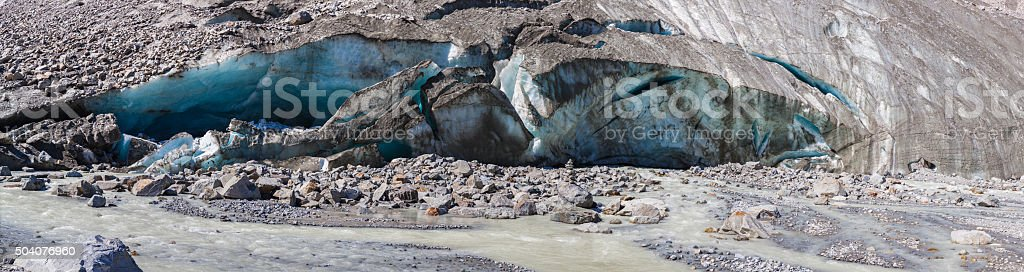 Close view of melting ice at end of glacier stock photo