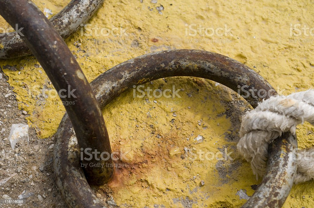 Close view of nautical rope and rusted chains royalty-free stock photo