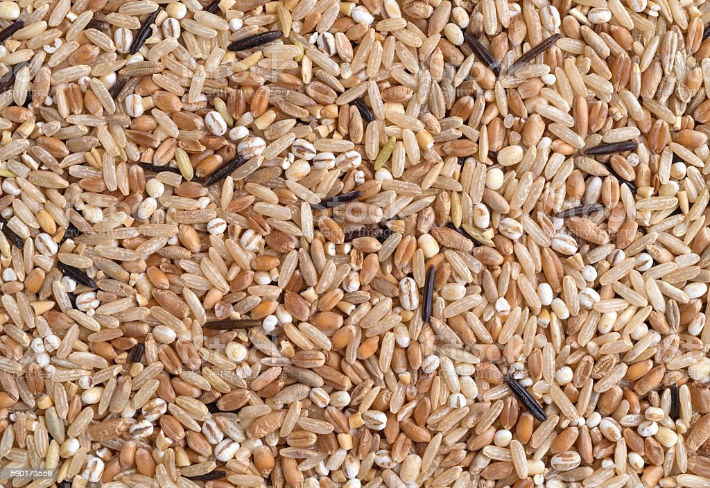Close view of rice and grains stock photo