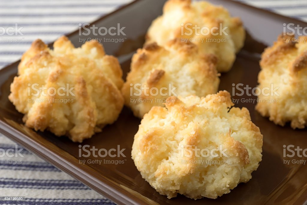 Close view of sugar free coconut macaroons in a dish stock photo
