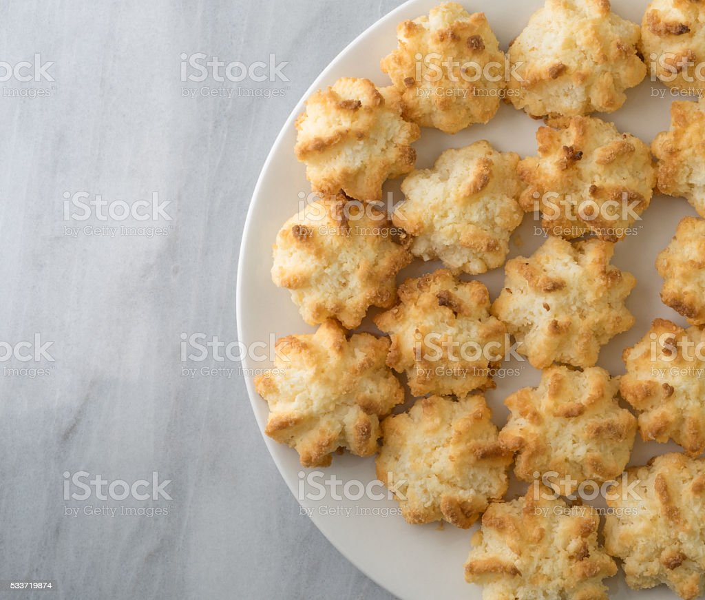 Close view of sugar free coconut macaroons on a plate stock photo