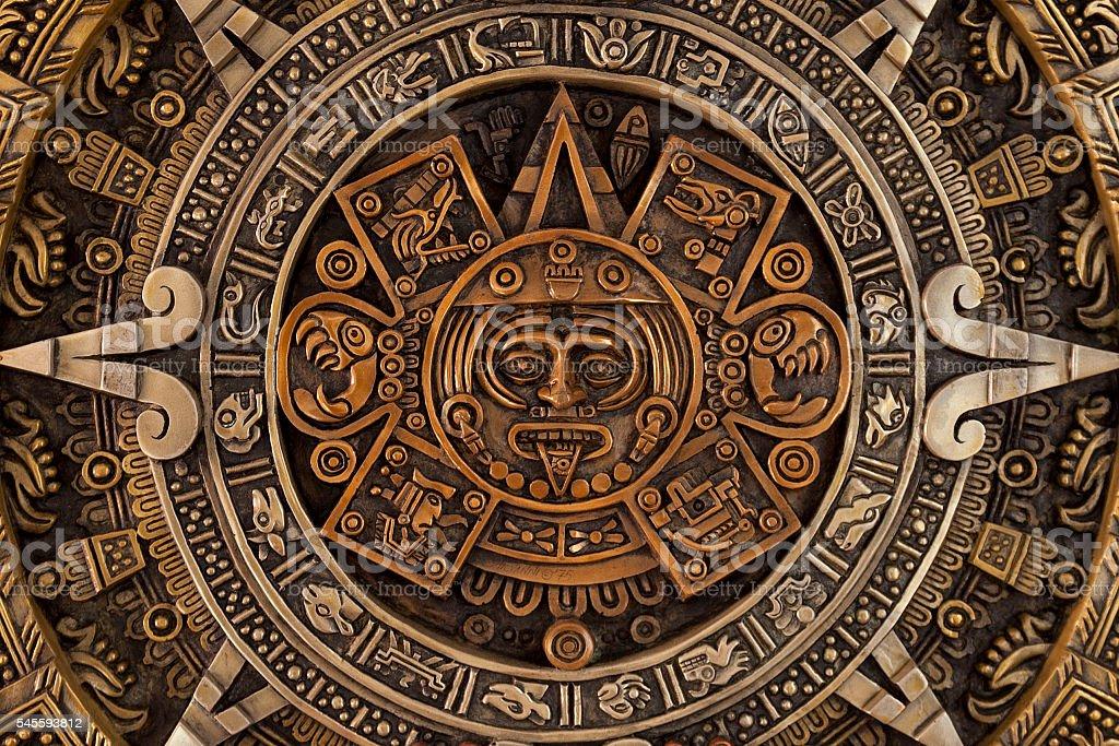 Close view of the aztec calendar stock photo
