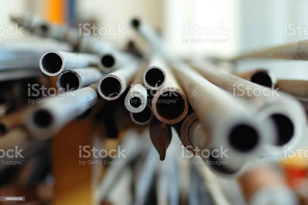 Close view of the openings of metal pipes stock photo