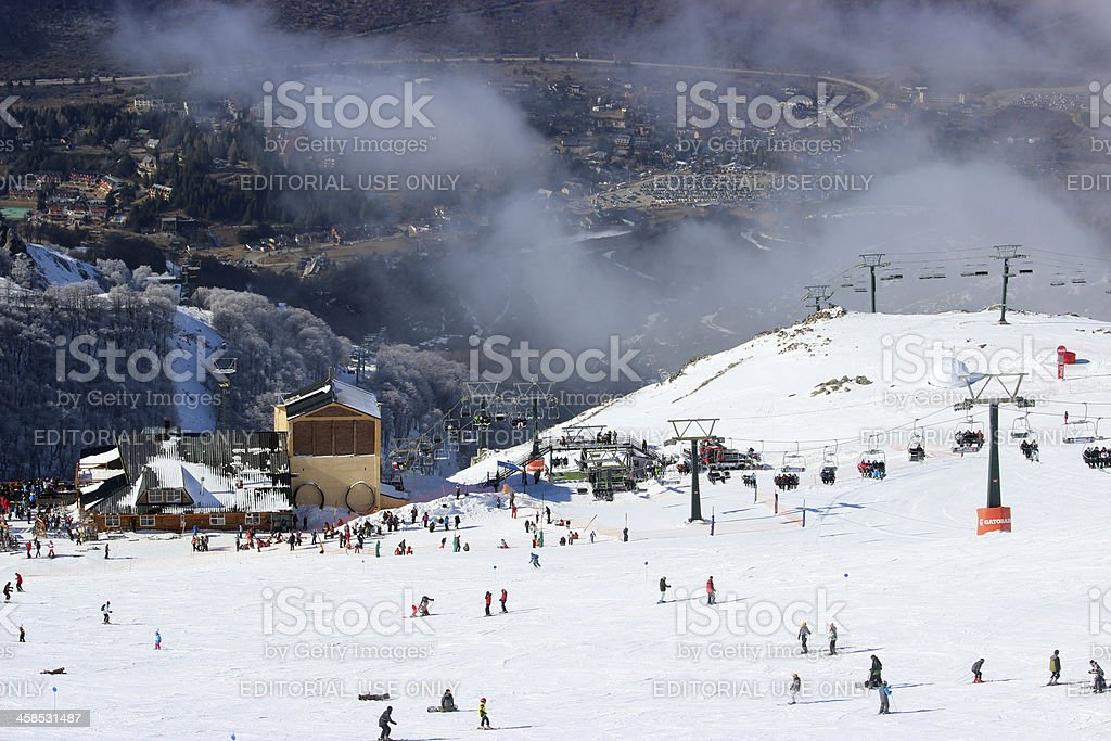 Close view of the Ski station at CERRO CATEDRAL stock photo
