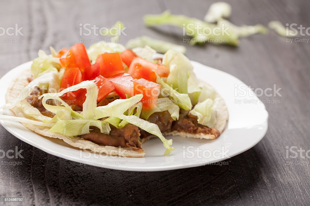 Close view of tostada stock photo