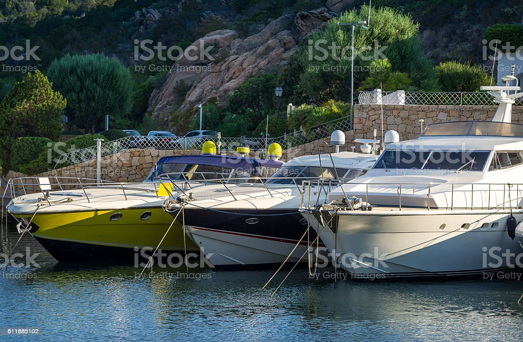 Close view on luxury motor boats at Poltu Quatu. stock photo