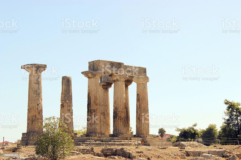 Close view - Temple of Apollo in Corinth at Greece stock photo