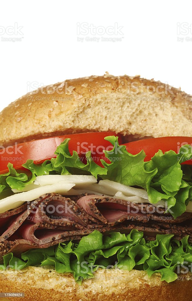 Close_up_roast_beef_sandwich royalty-free stock photo