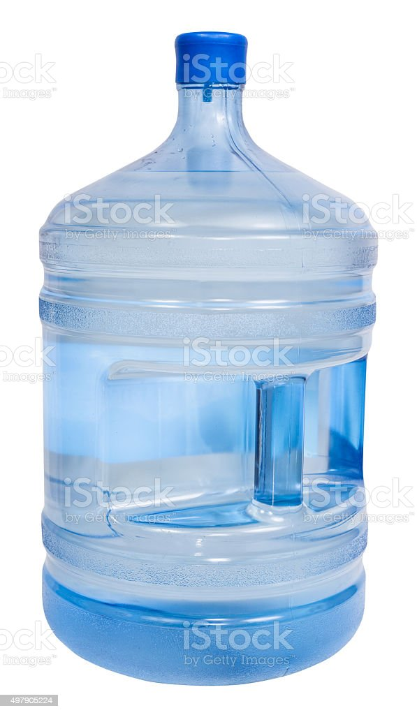 closed 5 gallon plastic bottle with drinking water stock photo