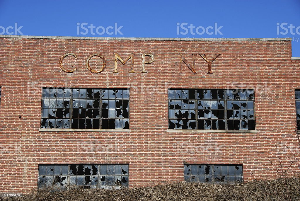 Closed and abandonded company building royalty-free stock photo
