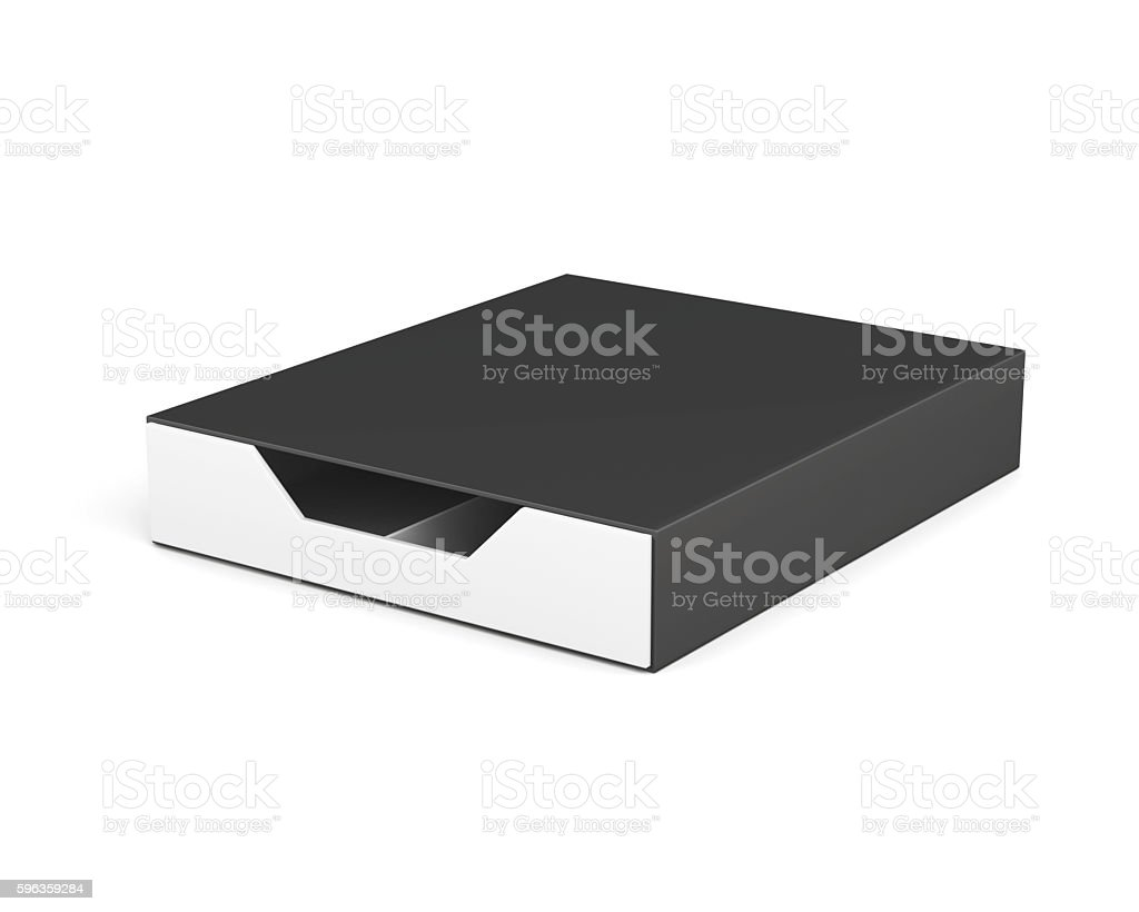 Closed and blank box isolated on white background. 3d rendering stock photo
