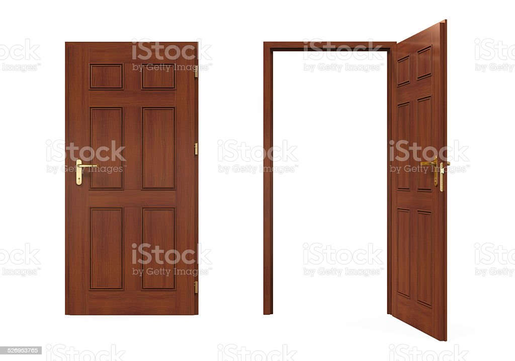 Closed and Open Doors Isolated stock photo